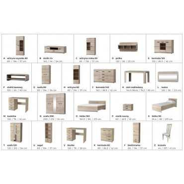 Komoda 140 szuflady system LINK sonoma