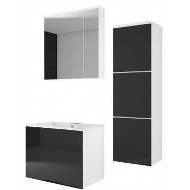 Meble łazienkowe biały/czarny połysk MDF, lustro, szafka