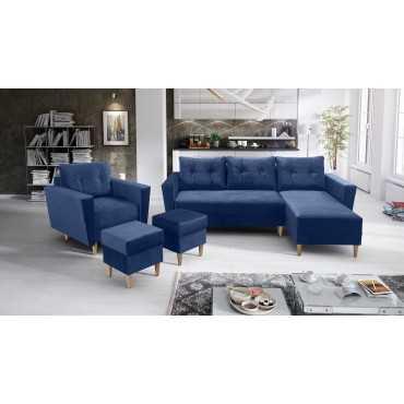 Zestaw wypoczynkowy Oslo - narożnik, fotel + pufy
