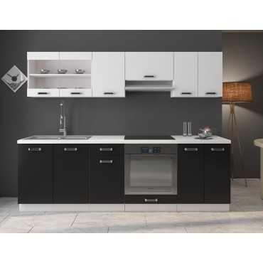 Zestaw mebli kuchennych OMEGA z blatem biały + czarny