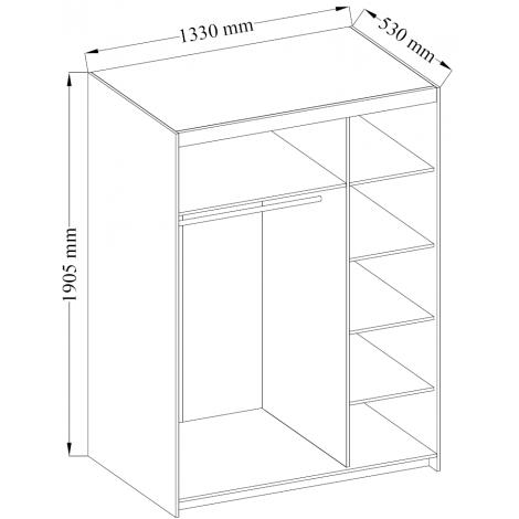 Szafa 130 z lustrem, półki drążek 3 kol. garderoba