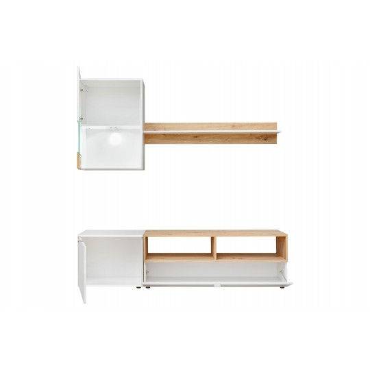 Meblościanka Mini biały mat / artisan + LED