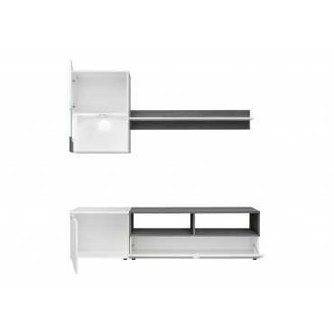 Meblościanka Mini biały mat / sosna norweska + LED