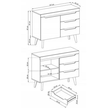 Komoda 107 z szufladami NORDI dąb artisan